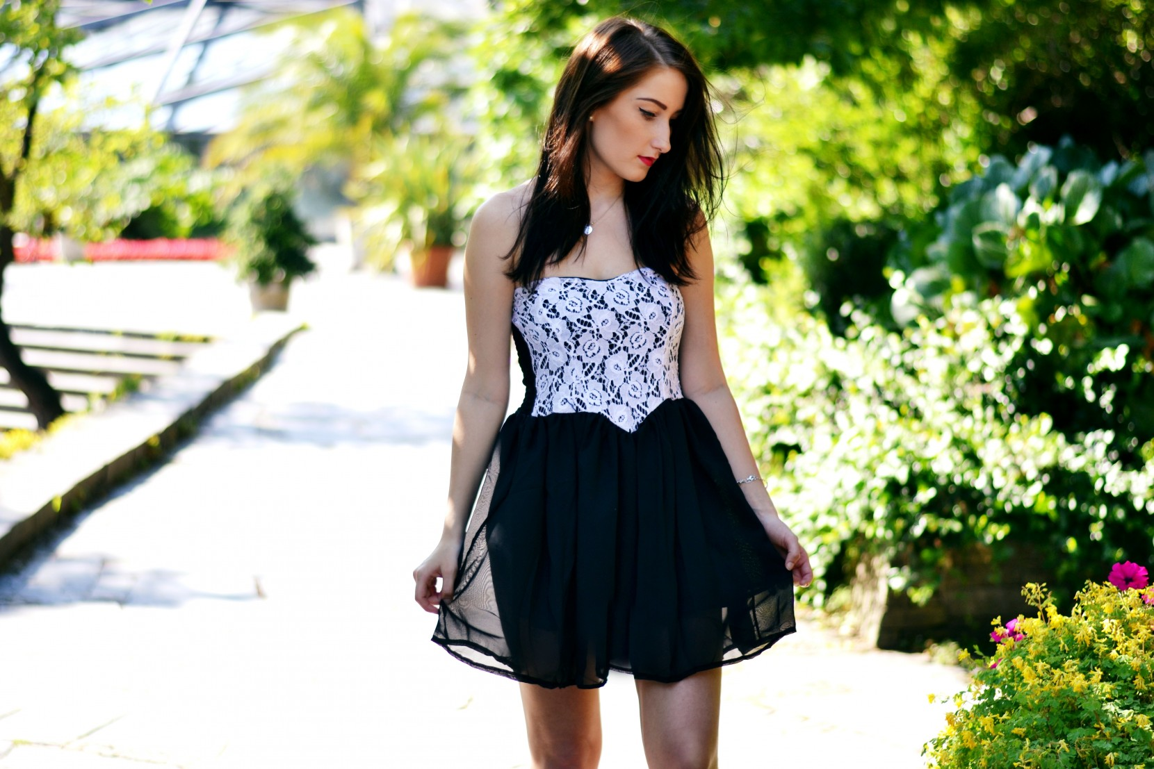 black dress with white lace