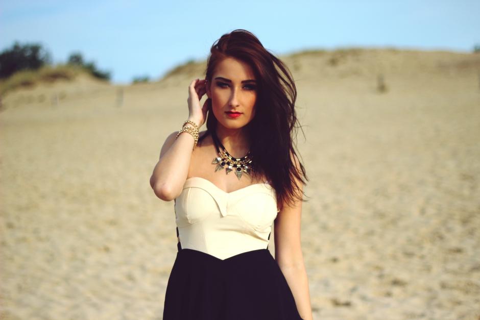 Classy Beige Black Dress