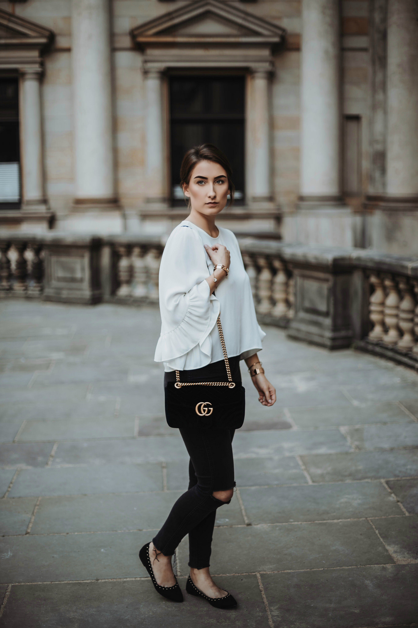 Simple Classy Outfit with Gucci Marmont Velvet Black Bag